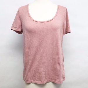 loft | pink u neck cotton short sleeve tee sz M